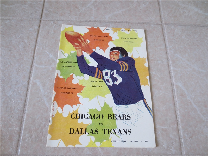 1952 Dallas Texans at Chicago Bears NFL program at Wrigley Field  TOUGH!