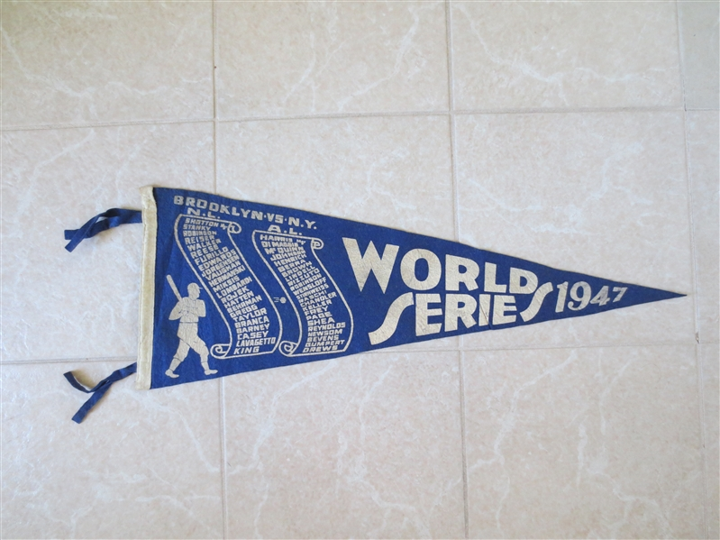 1947 World Series Scroll Pennant Brooklyn Dodgers vs. New York Yankees  WOW!