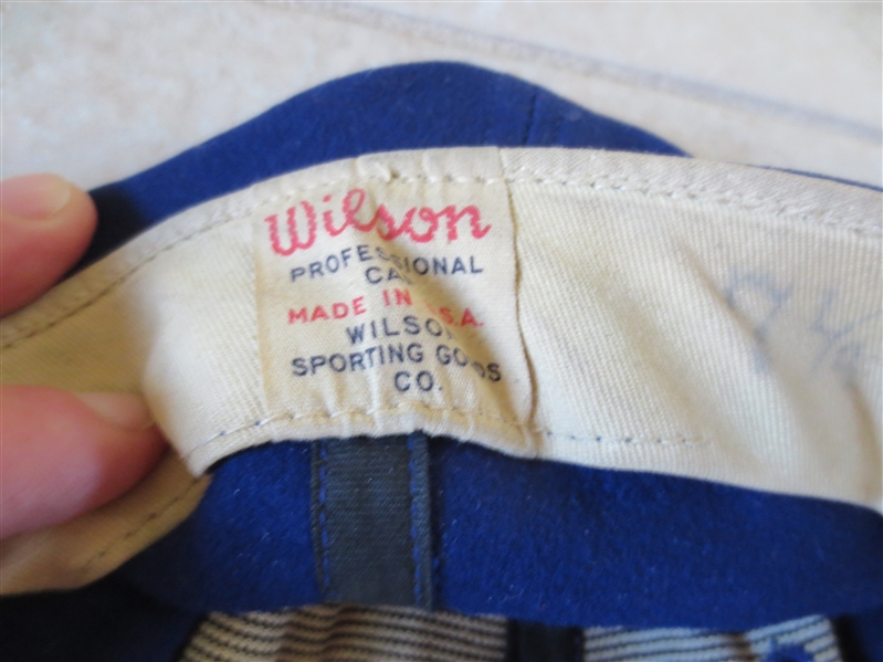 1950's Brooklyn Dodgers Don Bessent Game Used Worn Wilson baseball cap #46 WOW!