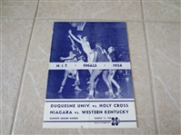 1954 NIT Championship Finals Scored Basketball Program Duquesne, Holy Cross  Niagara, Western Kentucky