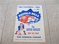 First Game in AFL Football History Unscored Program Boston Patriiots at Buffalo Bills  WOW!