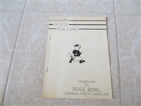 1942 Itinerary to the Rose Bowl Durham, North Carolina for Oregon State College