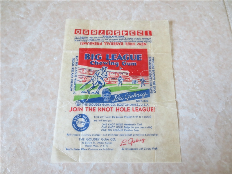 1934 Goudey Lou Gehrig Series Baseball Card Wrapper   NICE SHAPE