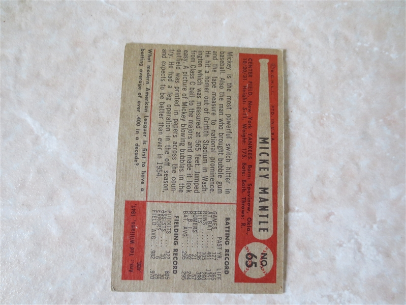 1954 Bowman Mickey Mantle baseball card #65    A Beauty!