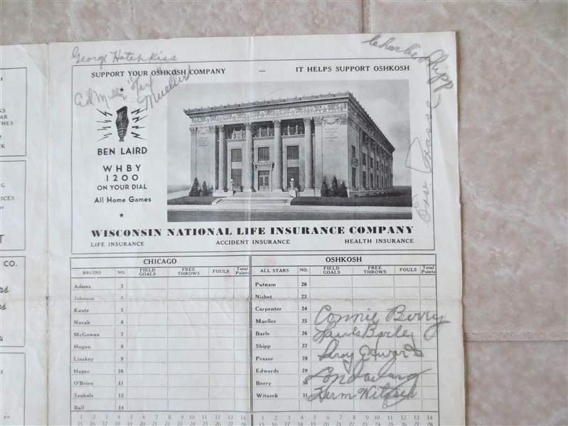 Autographed 1941 Oshkosh All Stars program with 12 autographs vs. Chicago Bruins
