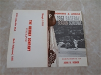 1961 Los Angeles Dodgers & LA Angels pocket schedule The Hebner Company