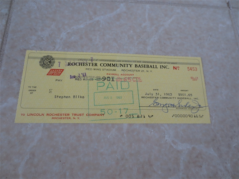 Autographed Stephen Bilko Pacific Coast League Star Rochester Red Wings check  RARE!