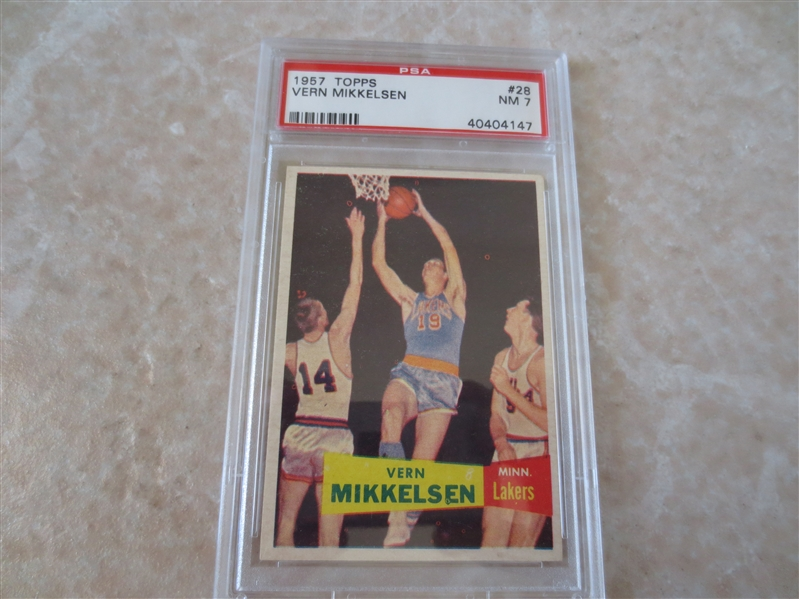 1957 Topps Vern Mikkelsen PSA 7 basketball card   A very nice looking PSA 7