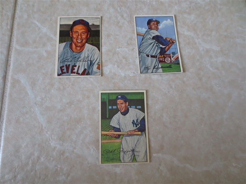 (3) 1952 Bowman Hall of Famers baseball cards: Bob Feller #43, Roy Campanella #44, and Phil Rizzuto #52