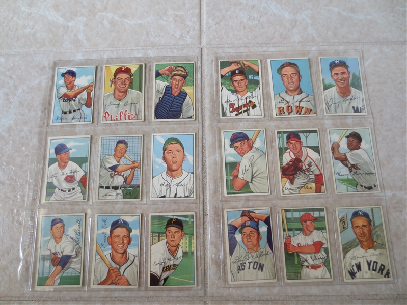 (35) 1952 Bowman High Numbers #217-252 baseball cards minus Willie Mays!!  Nice shape!