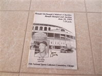 Autographed Ernie Banks Ronald McDonald Auction catalog from 10th National in Chicago