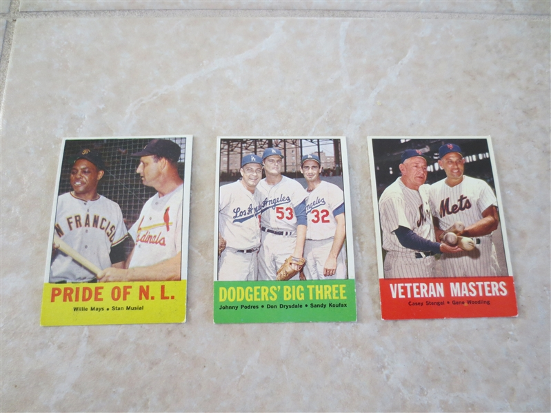 (3) 1963 Topps HOF baseball cards: Pride of NL, Dodgers' Big Three, Veteran Masters