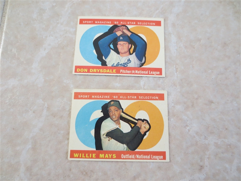 1960 Topps Willie Mays and Don Drysdale Sport Magazine baseball cards