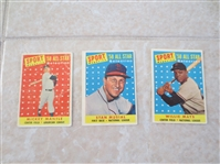 (3) 1958 Topps Sports Magazine baseball cards:  Mantle, Mays, Musial