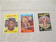 (3) 1959 Topps baseball card HOFers: Willie Mays, Campanella, Frank Robinson