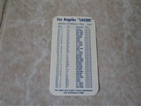 1962-63 Los Angeles Lakers pocket schedule  VERY RARE