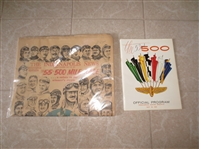 1969 Indianapolis 500 Auto Racing proogram + 1971 Indianapolis 500 newspaper + 2002 US Senior Open large plush pennant