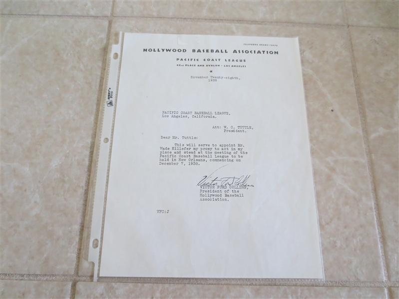 1938 Hollywood Stars PCL letter with letterhead signed by Victor Ford Collins, President of the Stars