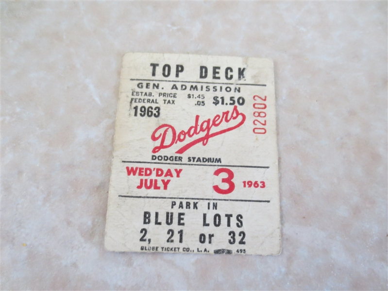 1963 Sandy Koufax wins shutout ticket stub St. Louis Cardinals at Los Angeles Dodgers
