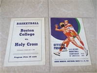 1949 Holy Cross vs. Boston College Basketball program (Cousy) + 1944 AAU Championship program