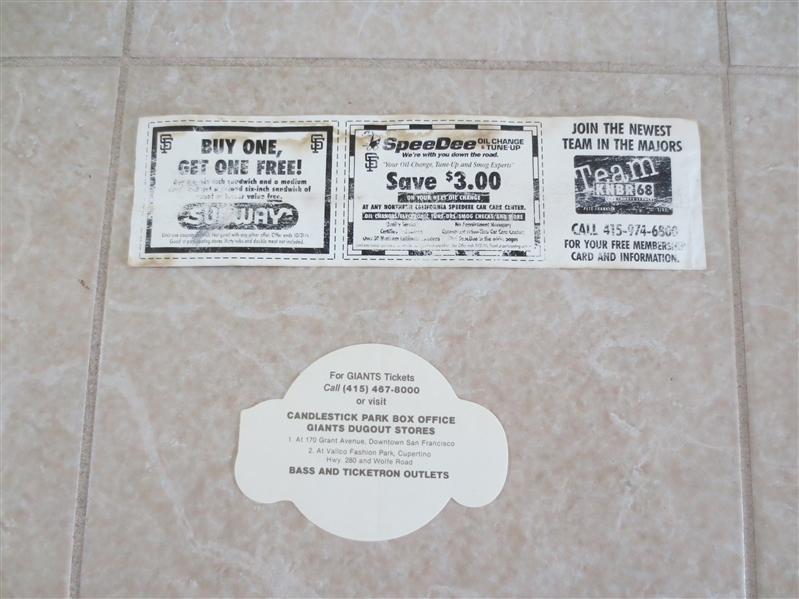 (2) Old San Francisco Giants baseball bumper stickers