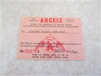 1962 Los Angeles Angels baseball Press Pass  2nd year in the major leagues!  RARE!