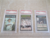 (3) 1971 Topps PSA 8 baseball cards with no qualifiers Earl Weaver, Gene Michael, Ken McMullen