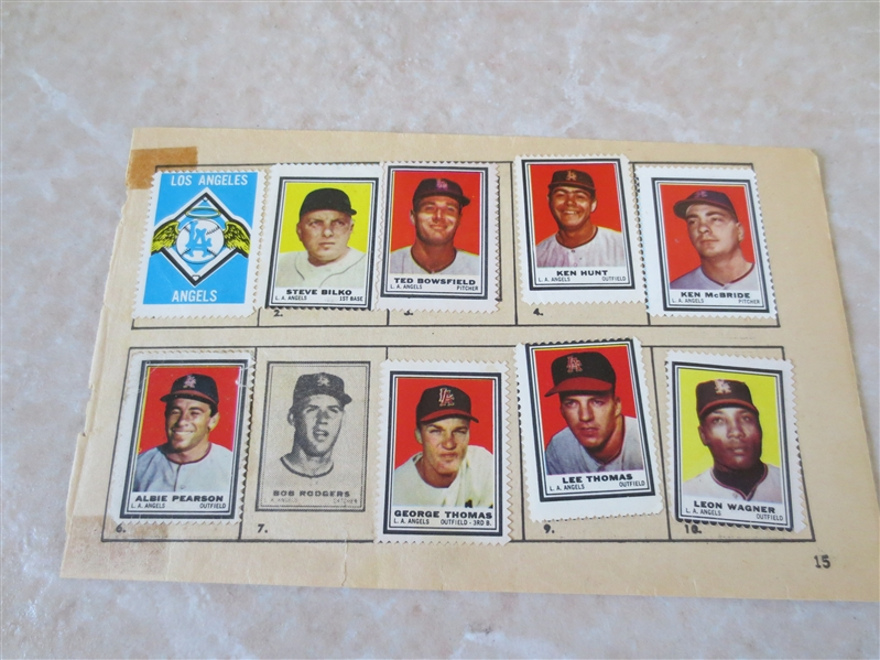 1962 Topps Los Angeles Angels Stamps Insert --9 stamps pasted into the original factory page