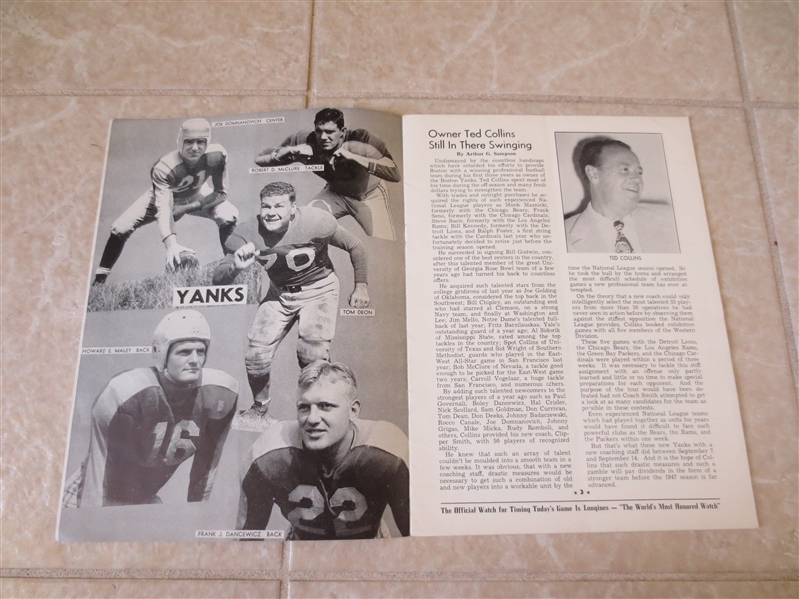 10-5-1947 Detroit Lions at Boston Yanks football program Very LOW attendance