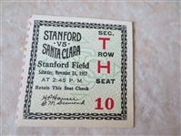 1917 Santa Clara at Stanford University football ticket