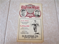 1922 Sacramento Solons at Vernon Tigers PCL scored baseball program   VERY RARE