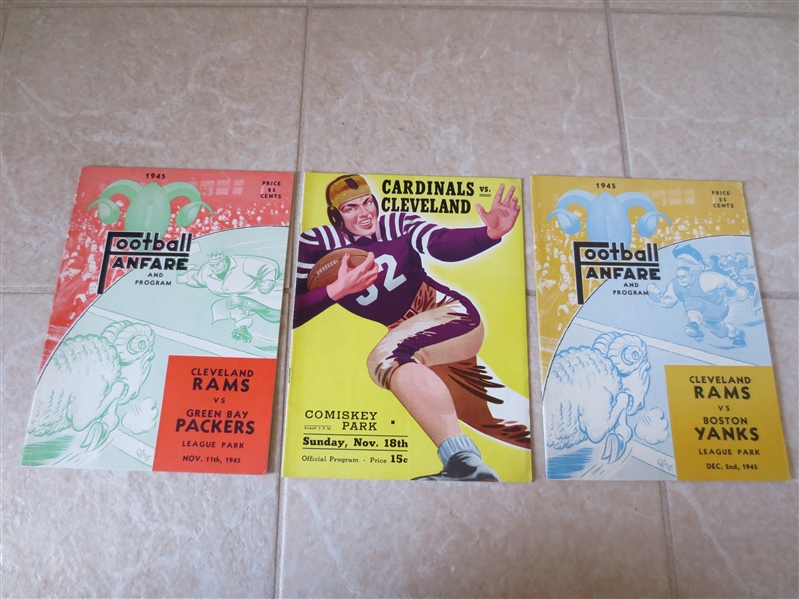 (3) 1945 Cleveland Rams football programs All in ex+ condition or better!