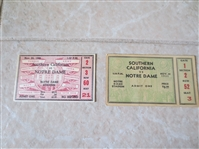 1931 and 1938 USC at Notre Dame football ticket stubs