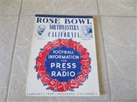 1949 Rose Bowl football media guide Northwestern vs. California  RARE
