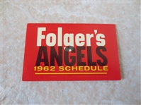 1962 Los Angeles Angels pocket baseball schedule 2nd year in Majors Folgers  Tough!