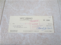 Autographed Lefty ODoul check signed just before he died from his restaurant