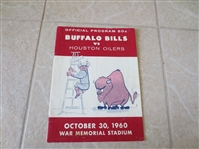 1960 Houston Oilers at Buffalo Bills football program 1st Year AFL
