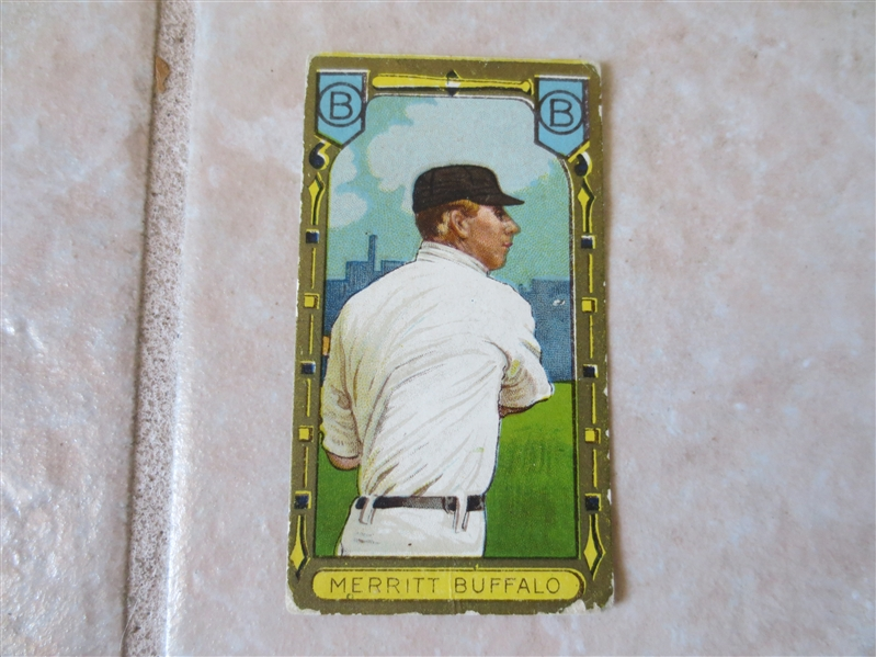 1911 T205 George Merritt Buffalo Minor League baseball card Hassan back Factory #649