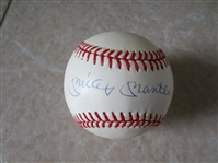 Autographed Mickey Mantle Official American League Bobby Brown baseball signed on the sweet spot