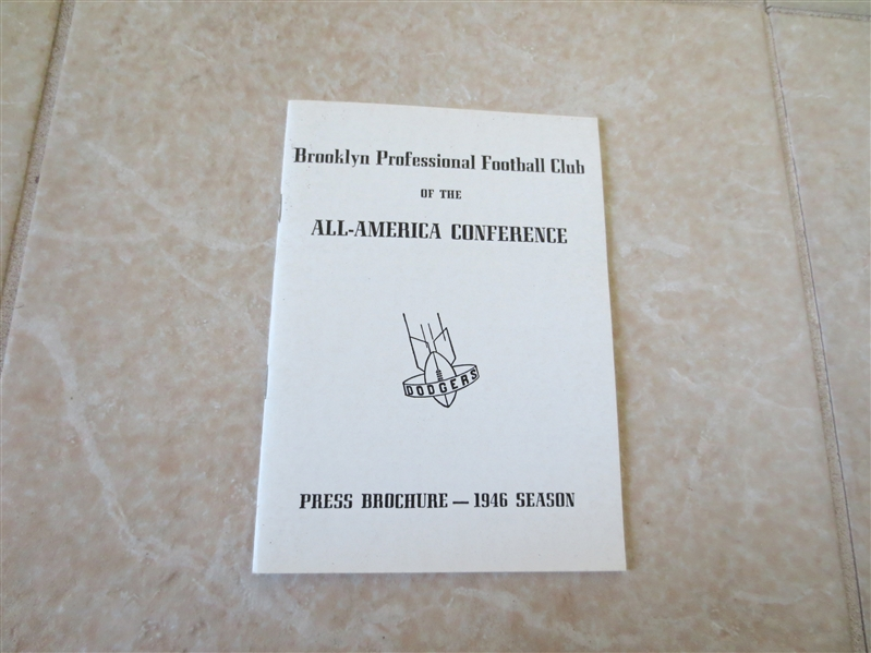 1946 Brooklyn Dodgers Football Media Guide All America Conference  RARE!