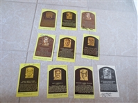 (10) 1963, 70s, 80s Baseball Hall of Fame Plaques Signed by Someone Else (i.e. wife)