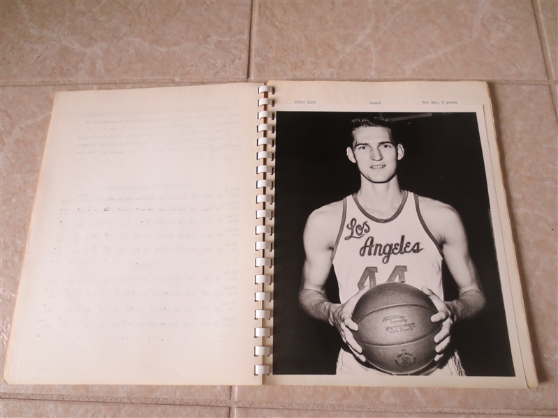 1962-63 Los Angeles Lakers Yearbook Media Guide with separate photos West, Baylor +
