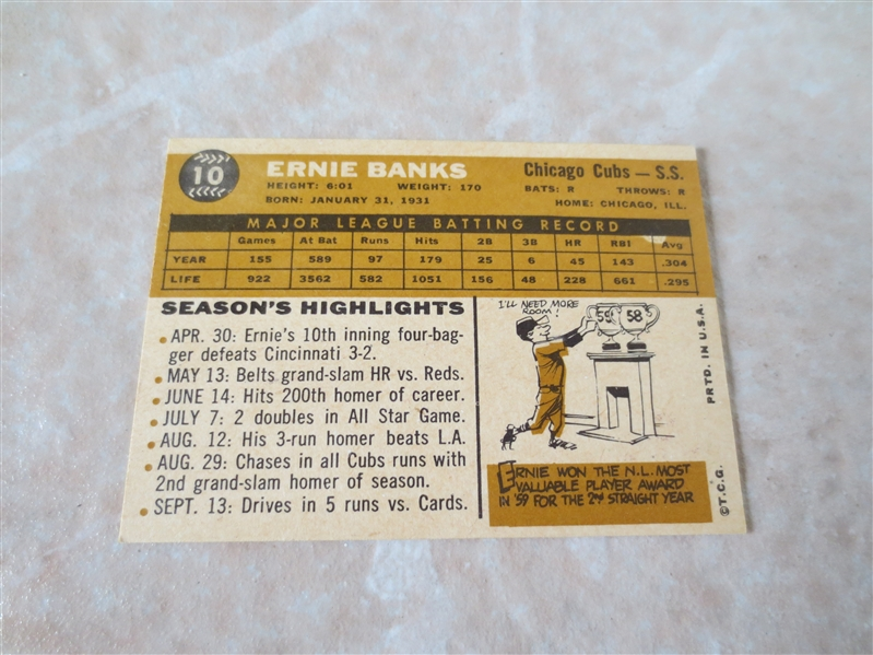 1960 Topps Ernie Banks baseball card #10  A beauty!