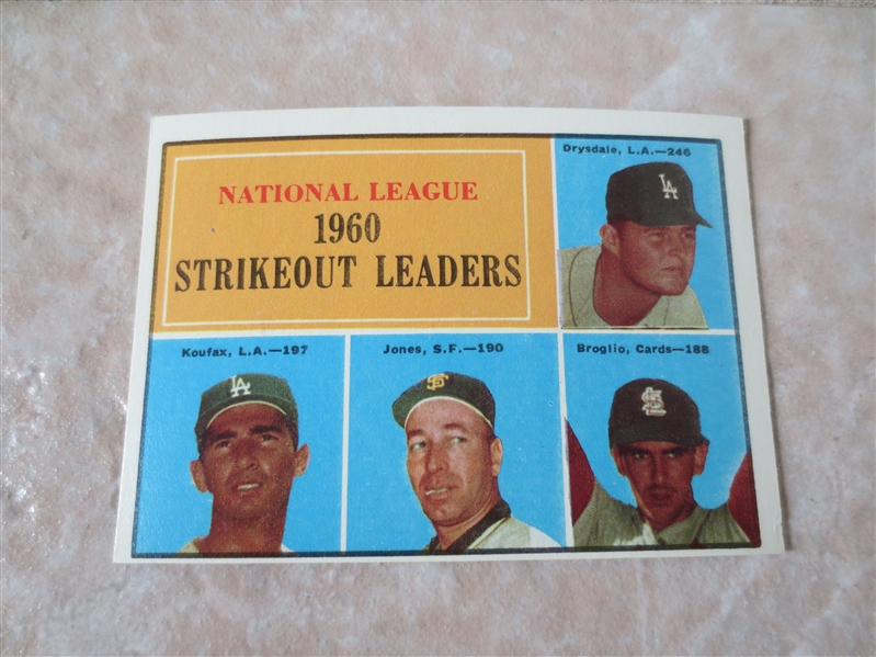 1961 Topps National League Strikeout Leaders with Sandy Koufax #49
