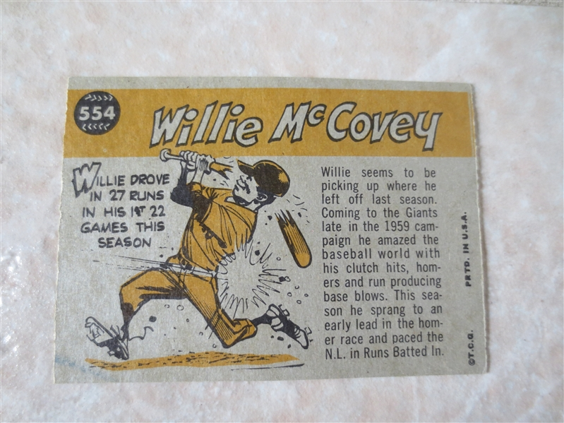 1960 Topps Willie McCovey Sport Magazine All Star baseball card #554 nice condition