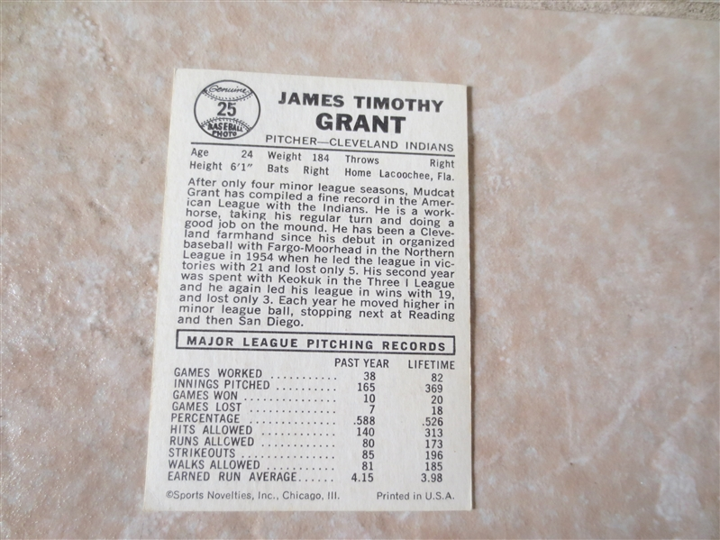 1960 Leaf Jim Grant Corrected baseball card #25