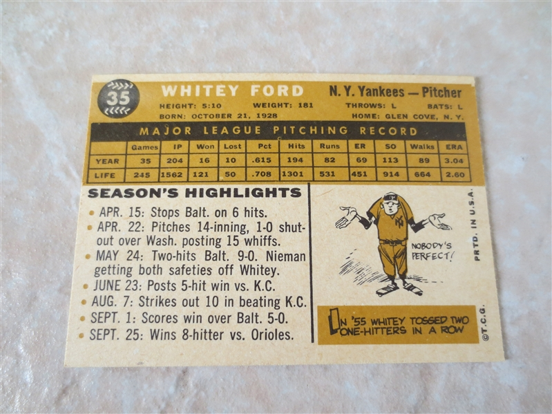 1960 Topps Whitey Ford #35 baseball card Hall of Famer  A beauty!