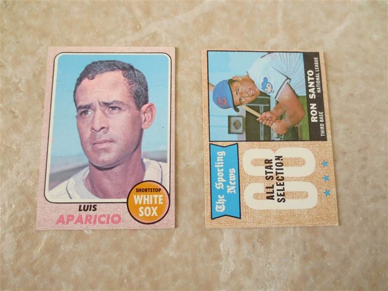1968 Topps Luis Aparicio #310 and Ron Santo Sporting News All Star #366 baseball cards