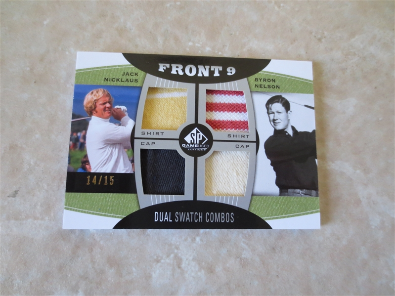Upper Deck Front 9 Game Used Jack Nicklaus Byron Nelson Dual Swatch Combos golf card
