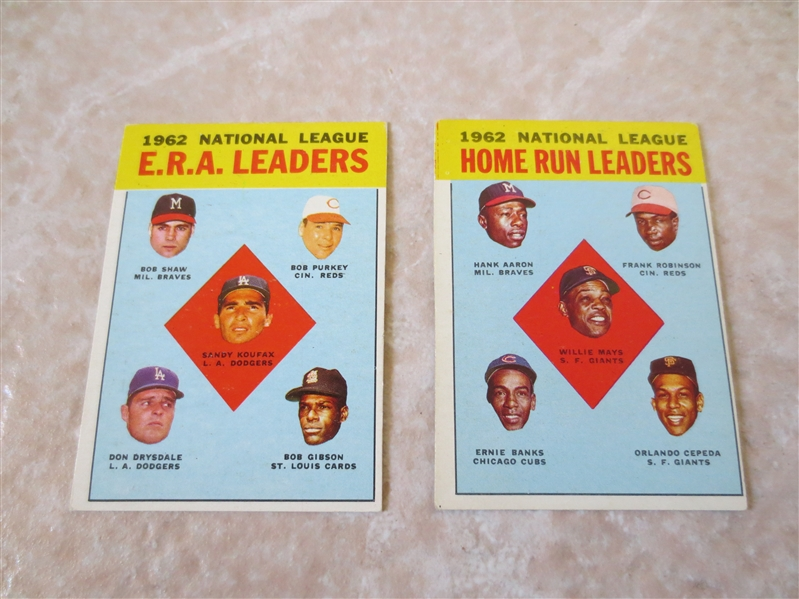 (2) 1963 Topps Leader baseball cards #3, #5 Willie Mays and Sandy Koufax